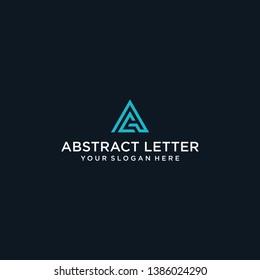 stylish and triangular shaped AC initial logo