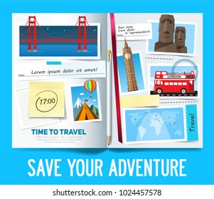 Stylish trip banner concept with opened album, photos with popular travel places, notes and stickers. Vector illustration