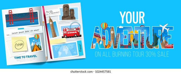 Stylish trip banner with opened album, photos with popular landmarks, notes and stickers.