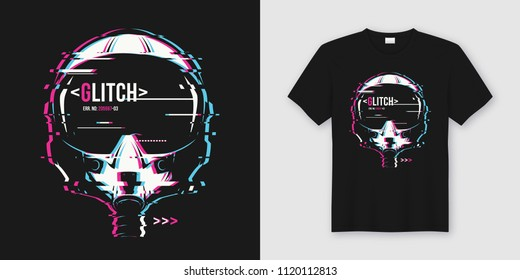 Stylish t-shirt and apparel trendy design with glitchy flight helmet, typography, print, vector illustration. Global swatches.