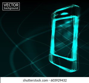 Stylish turquoise futuristic neon design smart phone for advertising, web etc. Space for your text. Vector illustration.