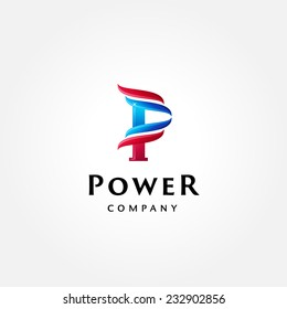 Stylish typographic logo template | Letter P Symbol | shiny icon template | corporate identity