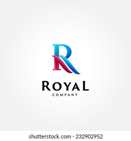 Stylish typographic logo template | Letter R Symbol | shiny icon template | corporate identity
