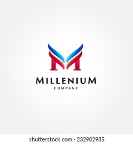 Stylish typographic logo template | Letter M Symbol | shiny icon template | corporate identity