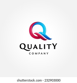 Stylish typographic logo template | Letter Q Symbol | shiny icon template | corporate identity