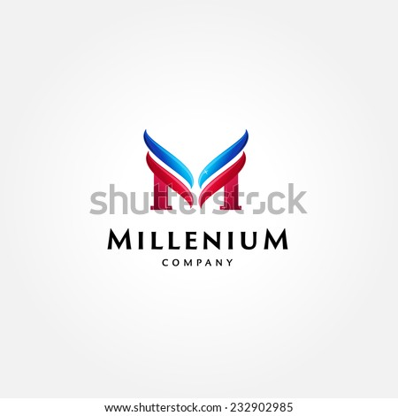 stylish typographic logo template letter m のベクター画像素材