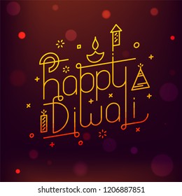 Stylish typography of Happy Diwali with firecrackers and oil lamp on blurred background. Can be used as greeting card design.