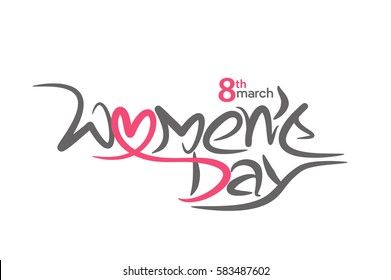 Stylish typography text happy women's day. vector illustration