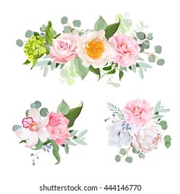 Stylish various flowers bouquets vector design set. Green hydrangea, rose, camellia, orchid, peony, anemone, carnation, eucalyptus leaf, wildflowers. All elements are isolated and editable.