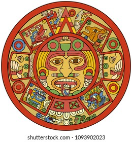 Stylish vector illustration of a aztec culture