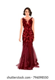 Stylish vector illustration of beautiful young woman with brunette short retro hairstyle in red long modern evening dress for celebrate. Realistic cartoon sexy lady isolated under white background