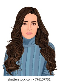 Stylish vector illustration of beautiful young woman with long brunette curly hair on blue sweater.Realistic cartoon portrait of girl with big brown eyes and pink lips isolated under white background