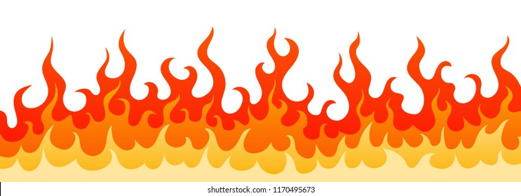 Stylish vector illustration with blazing wall of wildfire. Decoration frame with hot burning fire flame in red, orange and yellow colors isolated on white background for flammable web design