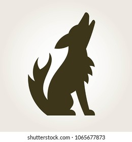 A stylish vector illustration of a coyote howling toward the sky