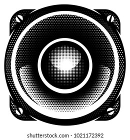 stylish vector monochrome detailed illustration with speaker.