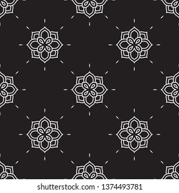 Stylish vintage floral pattern in black, white colours. Allover vector design for fabric, apparel textile, adult colouring book, interior, wallpaper, phone case. Retro Hindu monochrome flower motif