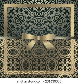 Stylish vintage invitation, Ornamental background with elegant golden ribbon and lace design decor