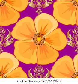 Stylish wallpaper with cosmos flowers. Abstract vector background. Floral seamless pattern with blooming cosmos flowers and leaves in purple, yellow and orange colors.