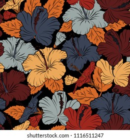 Stylish wallpaper with hibiscus flowers. Abstract vector background. Floral seamless pattern with blooming hibiscus flowers and leaves in blue, brown and black colors.