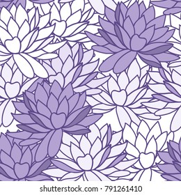 Stylish water lily flowers seamless ornament. Floral lotus pattern. Textile background in trendy colors.