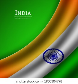 Stylish waving flag of india country for happy independence day