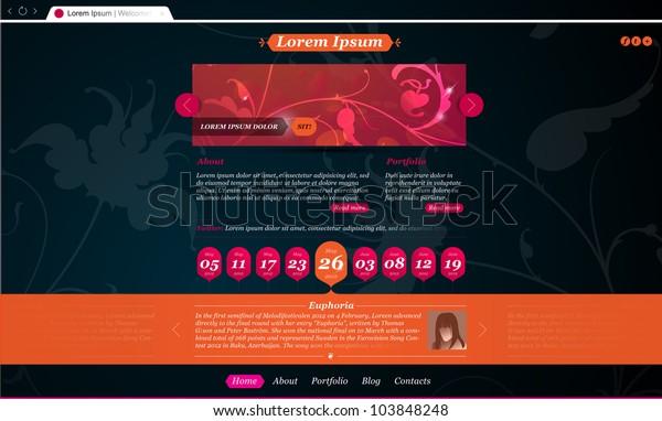 Stylish Website Template Personal Portfolio Fashion Stock Vector