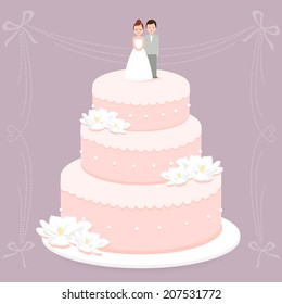 A stylish wedding cake decorated with flowers and a bride and groom toppers. Vector illustration.
