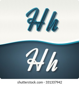 """The stylish white and blue italic letters of the alphabet, three-dimensonail, with shadows. The capital letters """"H"""" and lowercase """"h."""" Set, vector EPS10."""
