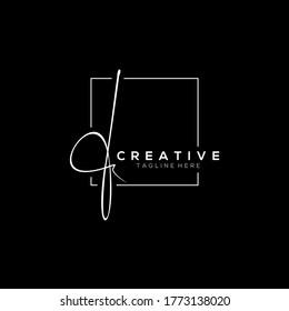 Stylish White Signature Letter F Logo Design With Squareline Background