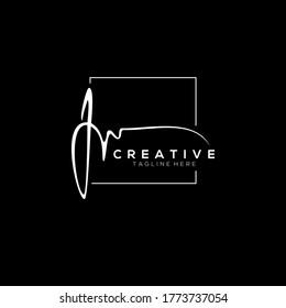 Stylish White Signature Letter J Logo Design With Squareline Background