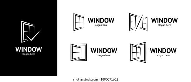 Stylish window logo set. Vector.