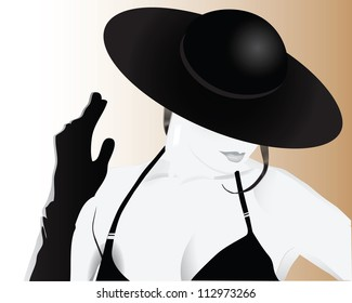 Stylish woman in a hat. Vector illustration.