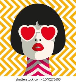 Stylish woman with heart glasses and bob haircut. Seamless geometric pattern. Herringbone pattern.