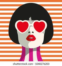 Stylish woman with heart glasses and bob haircut. Seamless geometric pattern. Stripe pattern.