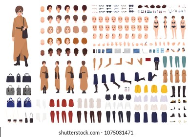 Stylish woman of middle ages constructor or DIY kit. Collection of female cartoon character body parts, facial expressions, clothing and accessories isolated on white background. Vector illustration
