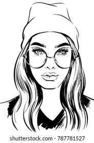 stylish women in hat and modern eyeglasses