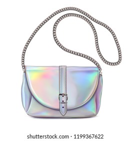 Stylish women's handbag. Colors golografik with chain handle.
