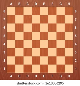 Stylish wooden chessboard top view. Vector illustration