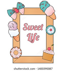 Stylish Wooden frame, With sweets, With place for text or image, isolated on a brigh background.