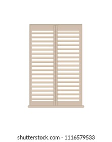 Stylish wooden lattice shutters with windowsill. Interior design luxurious element. White shutter of high quality isolated flat vector illustration.