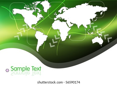 Stylish World Map on Green Background