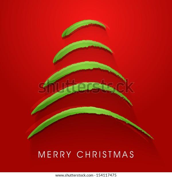 Stylish Xmas tree on red background for Merry Christmas celebration.