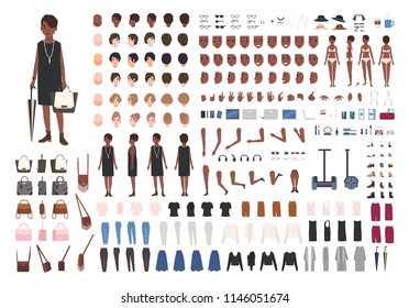 Stylish young African American lady DIY or animation kit. Bundle of female character body details, poses, gestures, elegant clothing isolated on white background. Flat cartoon vector illustration