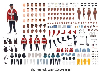 Stylish young man dressed in trendy clothes constructor. Guy in street style outfit. Set of body parts, clothing, accessories. Male cartoon character. Front, side, back views. Vector illustration.