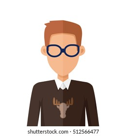 Stylish young man in glasses avatar or userpic in flat cartoon design. Boy in casual clothes. Sweater with deer. Close up portrait. Part of series of diverse avatars without facial features. Vector
