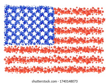 Stylization of American flag with star symbols are grouped into USA flag on a white background. Vector illustration collage of USA state flag made with abstract stars items.