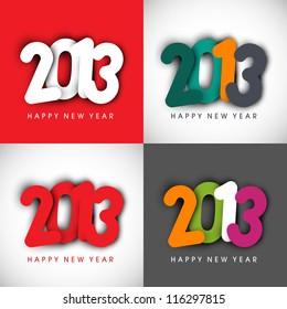 Stylized 2013 Happy New Year set. EPS 10