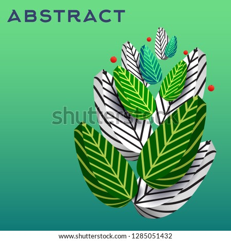 Stylized 3 D Leaves Isolated On Green Stock Vector (Royalty Free