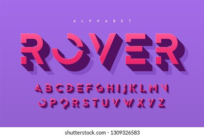 Stylized 3d uppercase letters, alphabet, typeface, font, typography. Vector illustration.