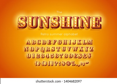 Stylized 3d vector font and alphabet. Sunshine. Yellow lowers letters, numbers and symbols decorated light bulb. Retro summer abc.